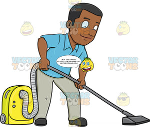 A Black Man Using A Vacuum Cleaner To Sanitize The Floor