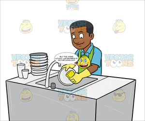 A Black Man Washing The Dishes