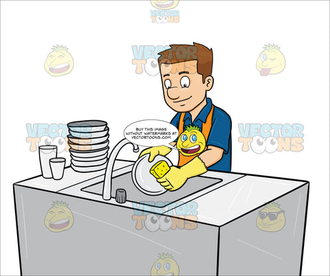 A Man Washing The Dishes