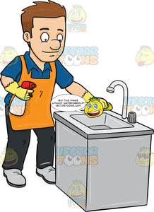 A Man Polishing The Kitchen Sink