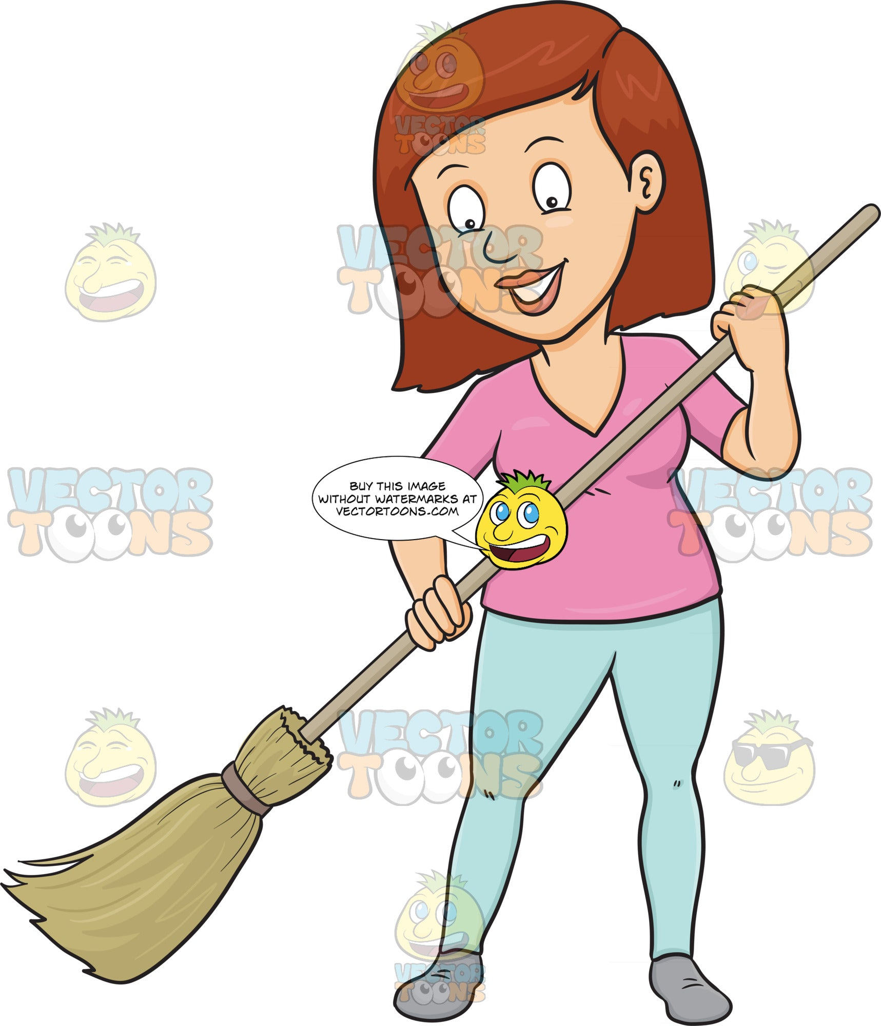 A Woman Cheerfully Cleans The Floor Using A Broom