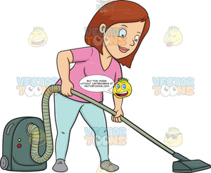 A Woman Using A Vacuum Cleaner To Sanitize The Floor