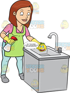 A Woman Trying To Polish A Kitchen Sink