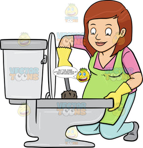 A Woman Cleaning A Toilet Bowl