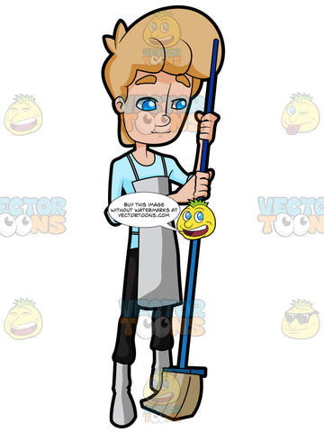 A Shy Man Holding A Broom