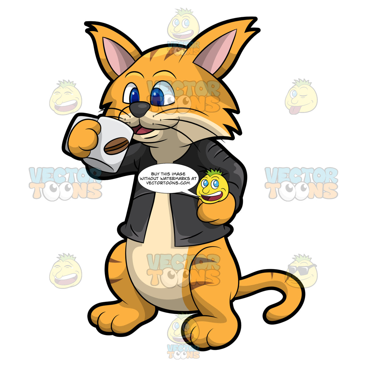 Clifford The Cat Drinking Coffee – Clipart Cartoons By ...
