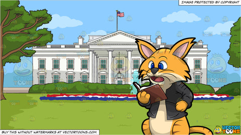 Clifford The Cat Reading A Book and The White House Background