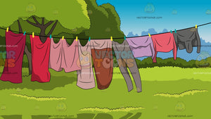 Clothes Drying On A Clothesline Background