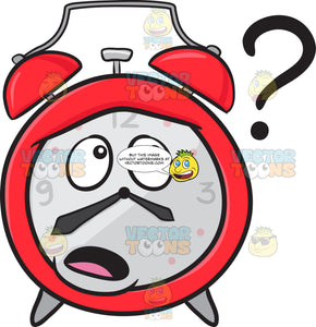 Clueless Alarm Clock Looking At A Floating Question Mark Sign Emoji