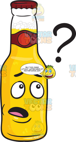 Clueless Bottle Of Beer Looking At Floating Question Mark Emoji