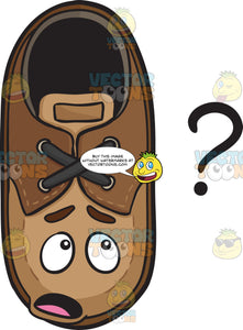 Clueless Brown Shoe Staring At Question Mark Emoji