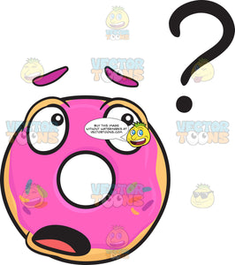 Clueless Donut Looking At Question Mark Emoji