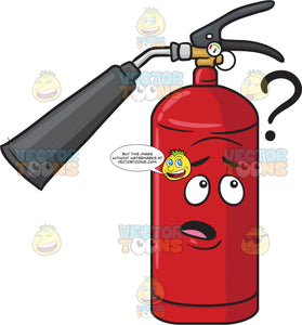 Clueless Fire Extinguisher Looking At Question Mark Sign Emoji