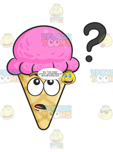 Clueless Ice Cream On Cone With Floating Question Mark