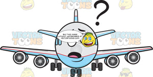 Clueless Jumbo Jet Plane Looking At Floating Question Mark Sign Emoji