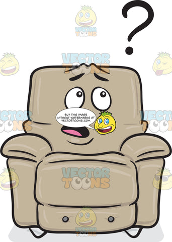 Clueless Stuffed Chair Looking At Question Mark Emoji