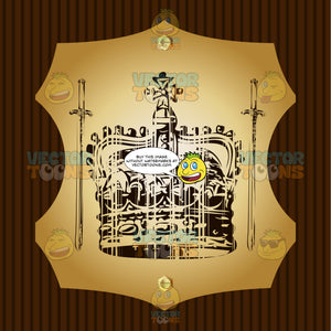 Coronet Crown Surrounded By Two Downward Pointing Swords Coat Of Arms On Gold Plate Screwed On Wooden Brown Background