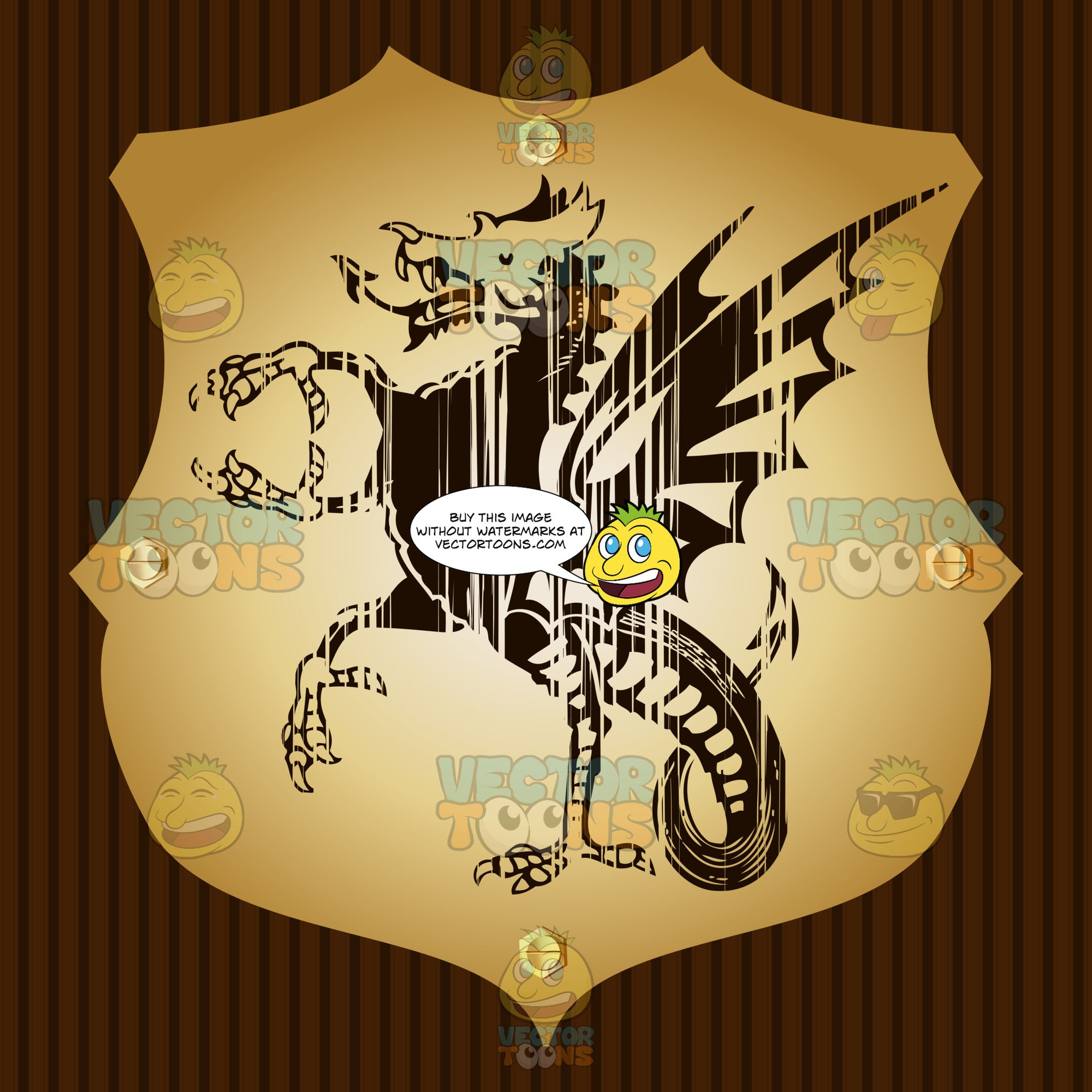 Winged Dragon With Talons For Hands And Feet Coat Of Arms On Gold Plate Screwed On Wooden Brown Background