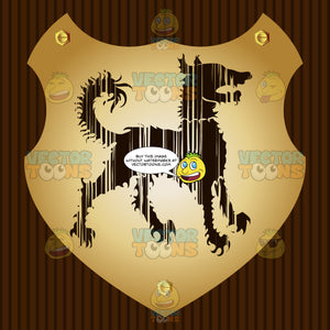 Curly Hair Dog Coat Of Arms On Gold Plate Screwed On Wooden Brown Background