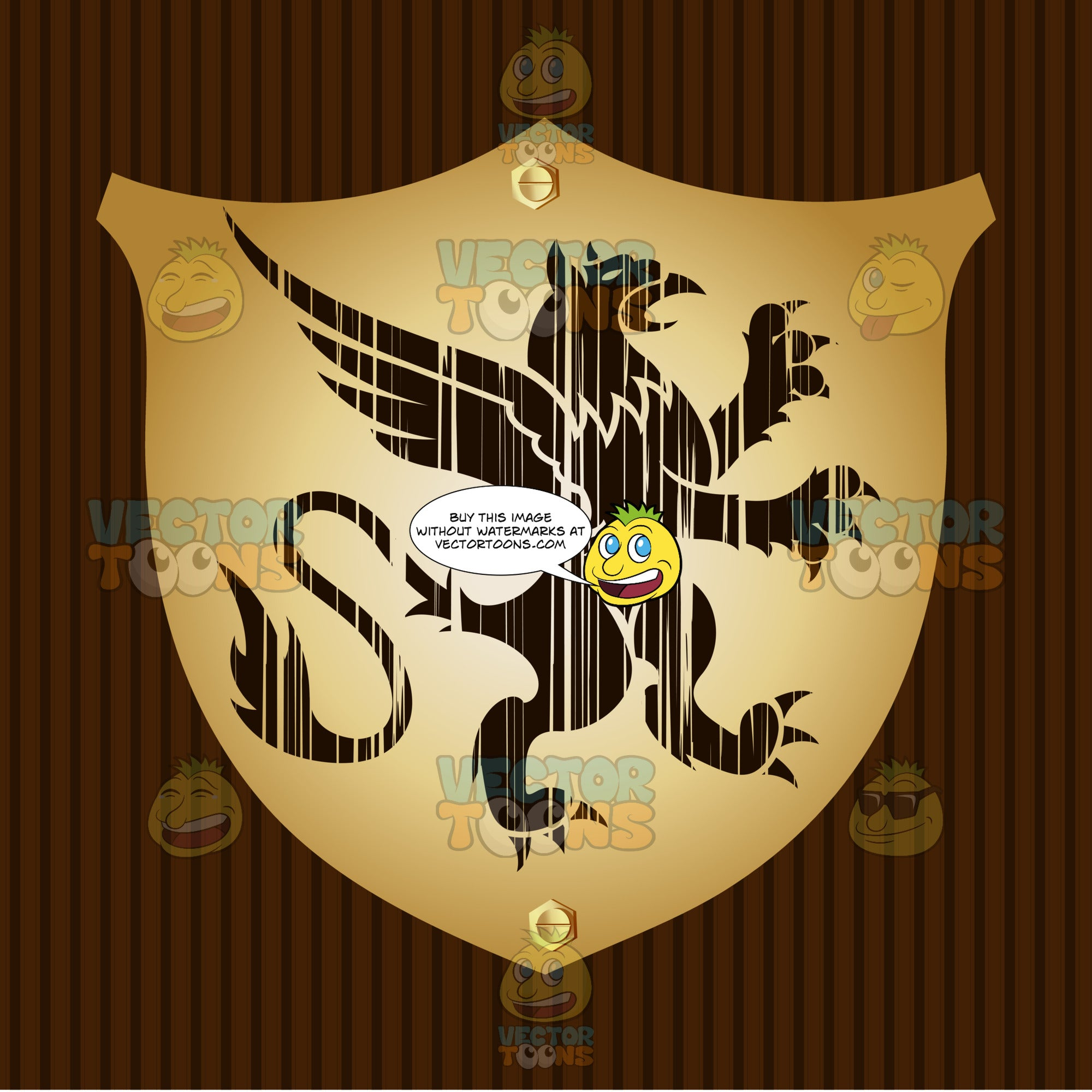 Rearing Gryphon Coat Of Arms On Gold Plate Screwed On Wooden Brown Background