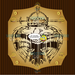 Eagle With Wings Spread Under Crown And Sword Coat Of Arms On Gold Plate Screwed On Wooden Brown Background
