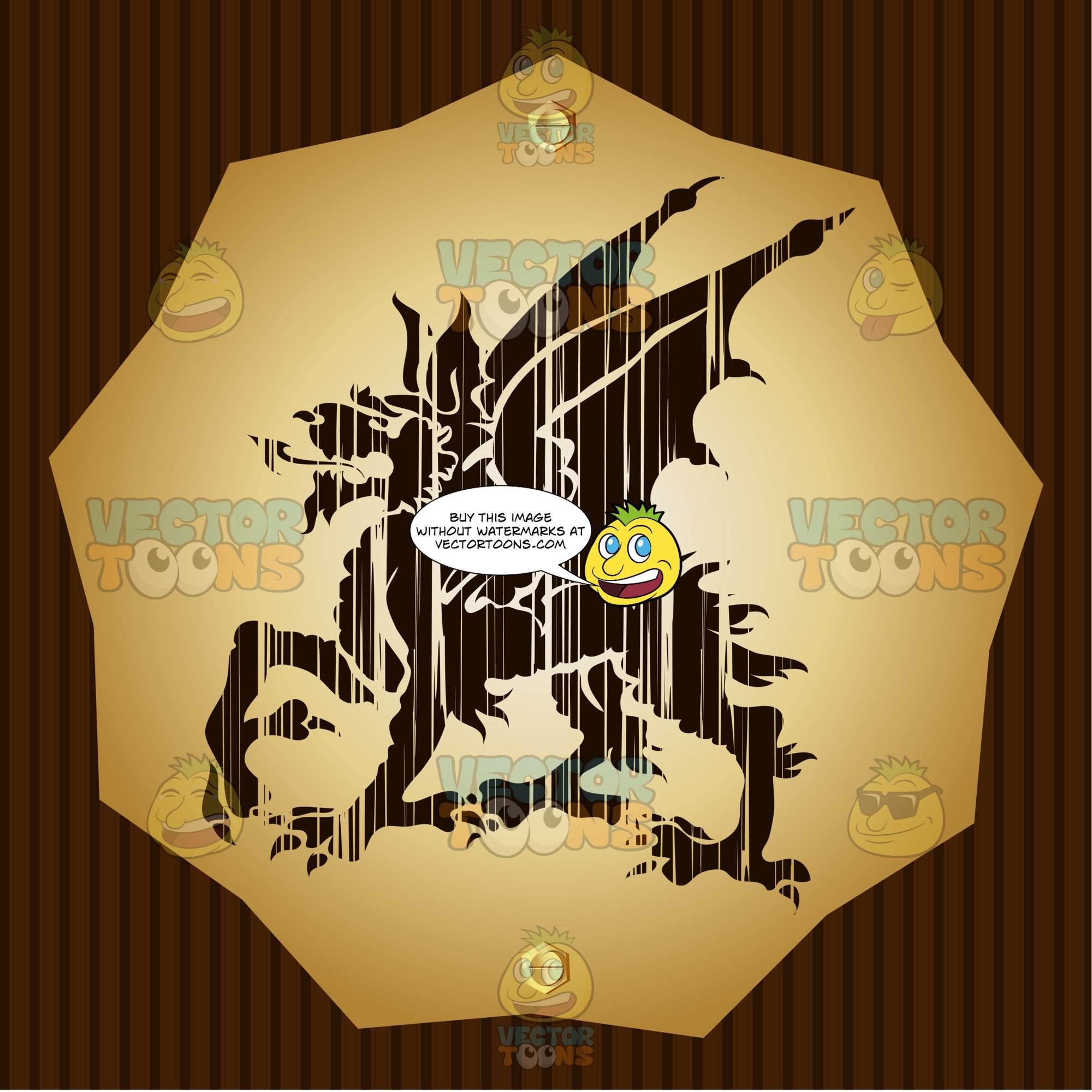 Dragon With Dog-Like Face, Long Ears Coat Of Arms On Gold Plate Screwed On Wooden Brown Background