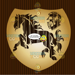 Galloping Horse Next To A Helmet Coat Of Arms On Gold Plate Screwed On Wooden Brown Background
