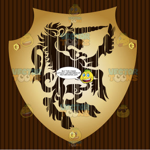 Upright Unicorn With Hair Near Hooves Coat Of Arms On Gold Plate Screwed On Wooden Brown Background
