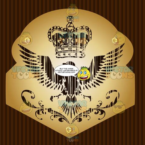 Eagle With Imperial Crown Above It Coat Of Arms On Gold Plate Screwed On Wooden Brown Background