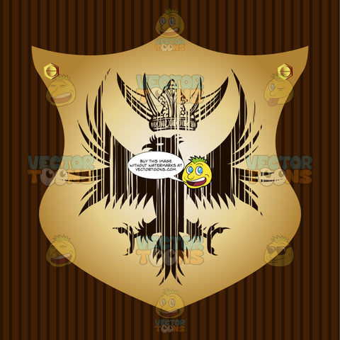 Falcon With Outstretched Wings And Talons With Horned Viking Helmet Above It Coat Of Arms On Gold Plate Screwed On Wooden Brown Background