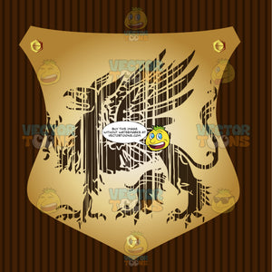 Griffin With One Talon Raised And Wings Coat Of Arms On Gold Plate Screwed On Wooden Brown Background