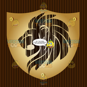 Lion Head With Flowing Mane Coat Of Arms On Gold Plate Screwed On Wooden Brown Background