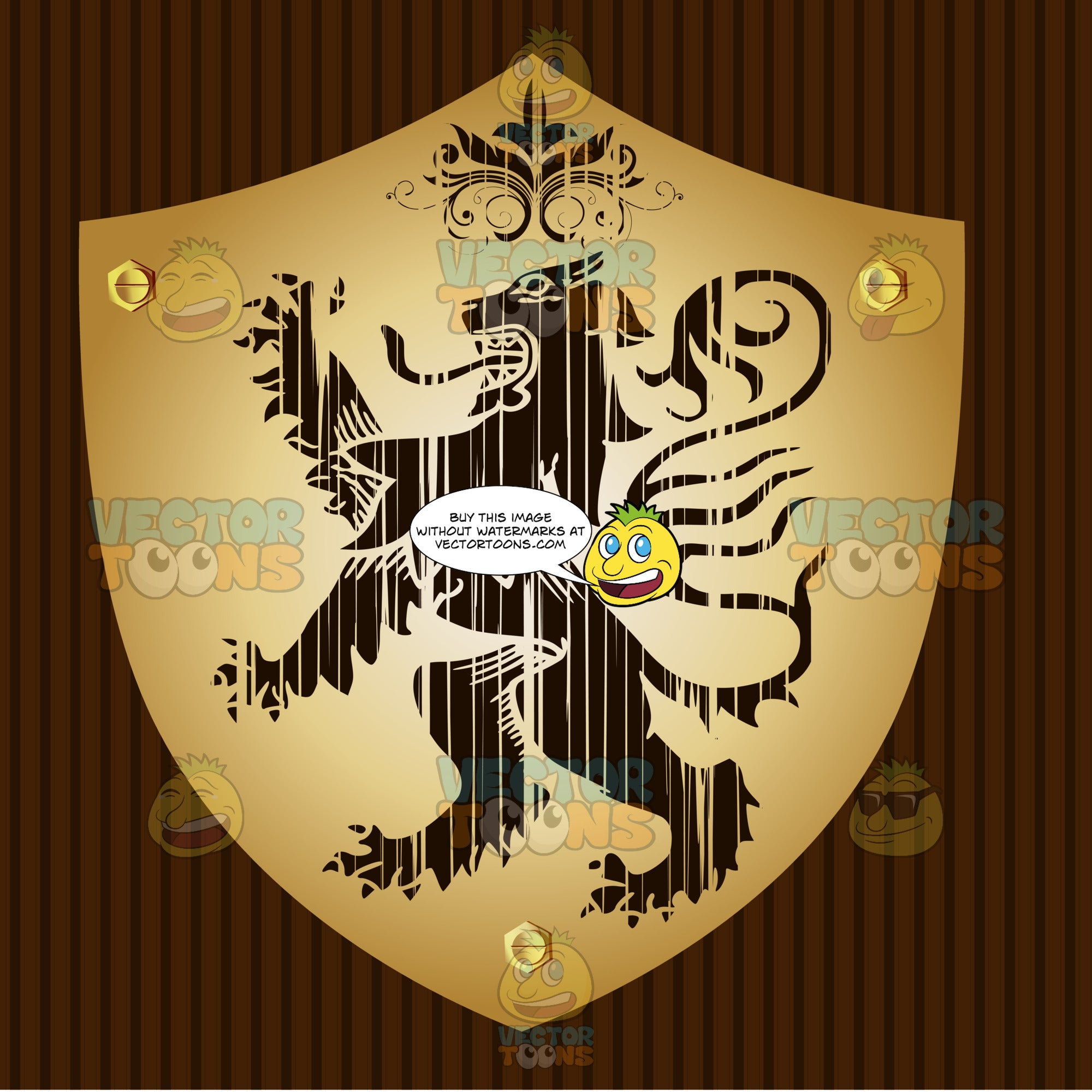 Medieval Stylized Lion Standing Up On Two Legs, Claws Up With Long Serpent Tongue And Long Tail With Ornate Florishes Coat Of Arms On Gold Plate Screwed On Wooden Brown Background