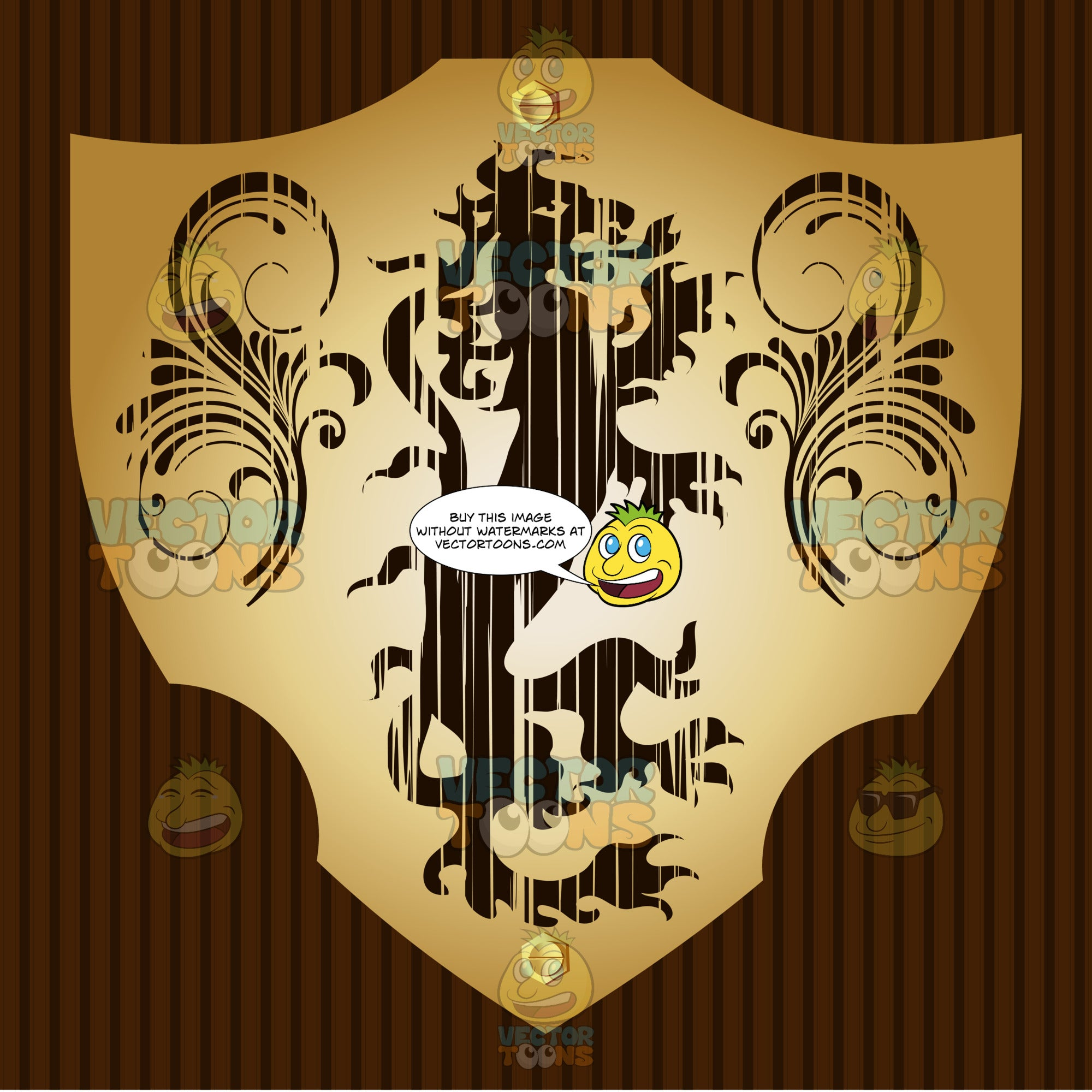Medieval Stylized Long Thin Dragon With Ornate Florishes Coat Of Arms On Gold Plate Screwed On Wooden Brown Background