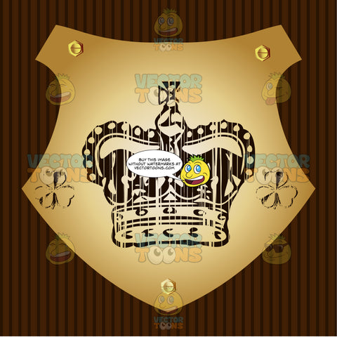 Crown With Cross On Top And Two Clovers On Side Coat Of Arms On Gold Plate Screwed On Wooden Brown Background