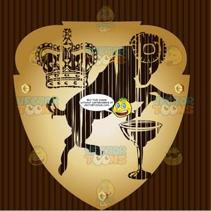 Crown, Rearing Ram And Goblet Coat Of Arms On Gold Plate Screwed On Wooden Brown Background