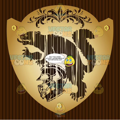 Wolverine, Helmet And Florish Detail Coat Of Arms On Gold Plate Screwed On Wooden Brown Background