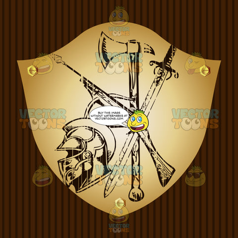 Crossbow, Ax, Sword And Knight Helmet Coat Of Arms On Gold Plate Screwed On Wooden Brown Background