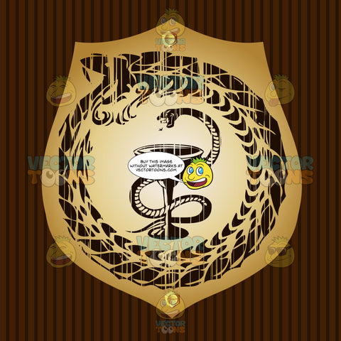 Serpent Rising To Strike Above Wine Goblet Surrounded By Circle Serpent Eating Its Own Tail Coat Of Arms On Gold Plate Screwed On Wooden Brown Background