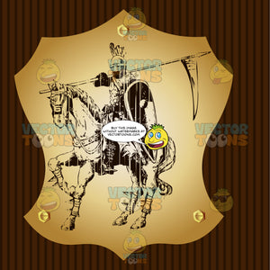 Knight Dressed In Armor On A War Horse With Spear With Pennant Over Shoulder Coat Of Arms On Gold Plate Screwed On Wooden Brown Background