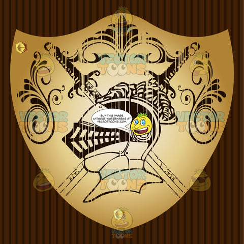 Knight'S Helmet With Feather Plume In Front Of Two Crossed Swords With Ornate Florish Overhead Coat Of Arms On Gold Plate Screwed On Wooden Brown Background