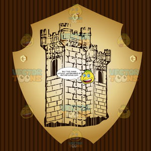 Castle Tower Coat Of Arms On Gold Plate Screwed On Wooden Brown Background