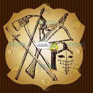 Axe, Crossbow, Spear, Sword And Cross Knight'S Helmet Coat Of Arms On Gold Plate Screwed On Wooden Brown Background