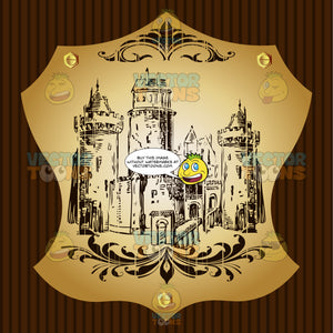 Castle With Towers And Bridge Coat Of Arms On Gold Plate Screwed On Wooden Brown Background