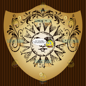 Old Fashioned Sun With Face And Triangle Rays And Florishes Coat Of Arms On Gold Plate Screwed On Wooden Brown Background