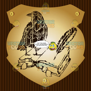 Raven On Top Of Open Book With Feather Quill Pen Coat Of Arms On Gold Plate Screwed On Wooden Brown Background