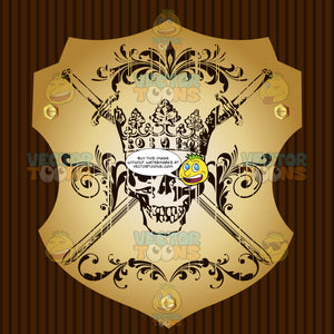Skull Wearing A Cornet Crown And With Two Cross Swords Coat Of Arms On Gold Plate Screwed On Wooden Brown Background
