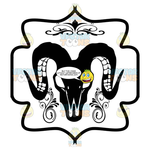 Black And White Horned Rams Skull Outline With Florishes Coat Of Arms Inside Geometric Plaque Shield