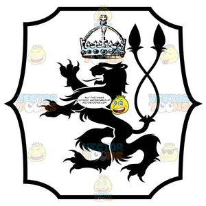 Black And White Rearing Lion With Dual Twisted Tail And Crown Above Coat Of Arms Inside Geometric Plaque Shield