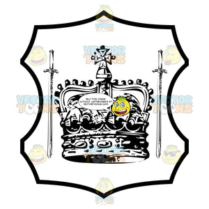 Black And White Coronet Crown Surrounded By Two Downward Pointing Swords Coat Of Arms Inside Geometric Plaque Shield
